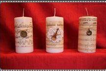 Bougies décoratives pour Noël / Bougies décorées façon scrap ou avec des serviettes