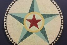 Hex Signs & Barn Stars / Hand painted folk art stars created by Moonblossom Signworks. These vintage style designs are inspired by the decorative hex signs that adorn barns in historic Pennsylvania Dutch country. In folklore, hex sign stars are symbols of good luck and prosperity.
