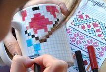 Biterswit · Coloring Mugs · Mugs for painting / Biterswit · Coloring Mugs · Mugs for painting Original ceramic mug for painting following patterns. Pixel mug. Isometric mug. Modernist mosaic mug.