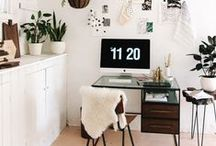 {craft room/office} / My dream craft room and office. Featuring an Eames chair (duh), pretty art, cute shelves and a Mac.