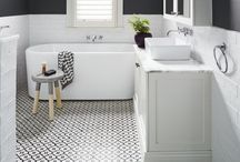 {bathroom} / My dream bathroom in visual format. Think subway tiles, big baths and round mirrors.