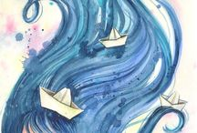 Desenhos P&B e Aquarelado