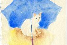 Cat art by Yumi Kudo / I love cats and I enjoy painting them..:)