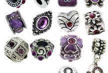 Purple Charm Bracelet Beads / Purple European Style Charm Bracelet Beads