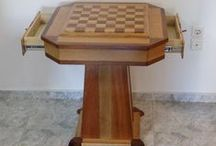 Chess board table at alekosbiki.wordpress.com / A chess board table for my son from oak and mahogany. Dimensions are 70cm x 70cm