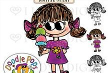Doodle Pops by Catherine Bariso / Adorable characters and coordinating digital printable stickers, papers, and more @ilovedigis.com.