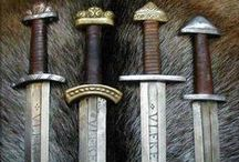 "Swords & More / The word sword comes from the Old English sweord, cognate to swert, Old Norse sverð, from a Proto-Indo-European root *swer- ""to wound, to cut"". Non-European weapons called ""sword"" include single-edged weapons such as the Middle Eastern saif, the Chinese dao and the related Japanese katana. The Chinese jian is an example of a non-European double-edged sword, like the European models derived from the double-edged Iron Age sword."