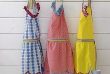 Vintage Aprons, Frilly Frocks  & Kitchen Linens / Functional or fashionable - girly aprons, frilly frocks, uniforms and kitchen linens & ensembles.