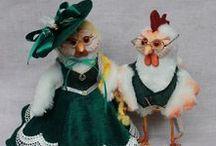 Петух - символ 2017 года / Петух и курица, петушок и курочка, символ нового года, 2017, авторская игрушка, кукла
