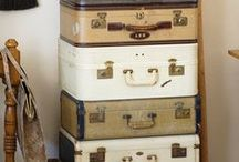 VINTAGE Suitcases | Vintage Luggage Vintage Trunks / A collection of pins to inspire my love of vintage suitcases, vintage luggage and vintage travel trunks. They are so versatile and look great used for home decor, interior styling and design. Why not use yours as stacking cases for vintage storage solutions or upcycle into a suitcase table or wedding card box. oh and don't forget to use them as display props for retail shops or stage props in movies or theatre. The choice is yours by Anthi Leoni Decor