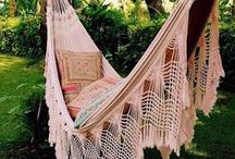 GARDEN | Hammocks | Swings / hammocks, hammock design, interior design ideas, outdoor living, relax outside, swing, window seating, day bed, daybeds, reading chairs, garden design, relax, / by Anthi Leoni