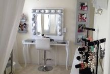 VANITY & MAKE  UP  STORAGE / Vanity, Make up Storage, Muji boxes and decoration ideas for my beauty and get ready sanctuary. Pretty ideas for a girly space to do your make up. Modern inspiration and old hollywood feeling