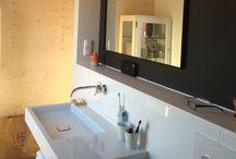 EQ interieur: badkamer / Badkamers, Welness, douche, badmeub, wastafel, wandbekleding, vloertegels, gietvloer