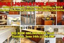 6/14/16 BULK LIQUIDATION ONLINE AUCTION: Cabinets and Granite / BULK LIQUIDATION ONLINE AUCTION:  Bidding has ended for this auction. Stay tuned to http://www.comasmontgomery.com for more upcoming auctions.  Featuring 1000's of Cabinets - Brand New and Unassembled in boxes. SELLING in BULK LOTS!  Also selling Display/Showroom Cabinets and Bulk Lots of Granite Countertops.  BID NOW ONLINE or ON LOCATION Tuesday, June 14th, 2016 at 1:00 PM.  #cabinet #granite #bulk #liquidation #nashville #tennessee #auction #bidding #online #business #countertops #kitchen