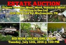 7/12/16: Pickers' Paradise Online Auction: Scrap Metal, Wood, Vehicles and more! / ONLINE ONLY ESTATE AUCTION:   The Estate of Bill Minic - 3518 Betty Ford Road, Murfreesboro, Tennessee.   Pickers' Paradise! Includes: Tractor, Metal, Mowers, Wood, Vehicles & more!   ALL ITEMS UP FOR ONE BID! BID NOW ONLINE ONLY UNTIL Tuesday, July 12th, 2016 @ 7:00 PM.   Bidding has ended for this auction. Stay tuned to http://www.comasmontgomery.com/ for more upcoming auctions.   #scrap #metal #vehicles #bus #Volkswagon #van #wood #concrete #tractor #pickers #trailer #Murfreesboro #Tennessee