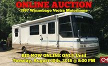 8/30/16 ONLINE AUCTION featuring 1997 Winnebago Vectra Motorhome / Bidding has ended for this auction. Stay tuned to http://www.comasmontgomery.com/ for more upcoming auctions.  -ONLINE ONLY AUCTION feauturing 1997 WINNEBAGO VECTRA MOTORHOME.  BID NOW ONLINE ONLY UNTIL Tuesday, August 30th, 2016 @ 8:00 PM.  ONLY 51,800+/- miles! Ready to go for all of your adventures!  PREVIEW: Monday, August 29th from 6-7 PM.  #winnebago #RV #motorhome #tennessee #auction #used #vehicle #Comas #Montgomery