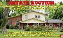 9/1/16 ESTATE AUCTION: Spacious 4 BR Home in Murfreesboro / Bidding has ended for this auction. Stay tuned to http://www.comasmontgomery.com/ for more upcoming auctions. - ESTATE AUCTION featuring Spacious 4 BR Home - Same Owner 40 Years  314 Sadler Court, Murfreesboro, Tennessee   BID NOW ONLINE or ON LOCATION Thursday Evening, September 1st, 2016 @ 6:00 PM.  Master suite on main level, hardwood flooring, large garage, offers tons of potential.  #realestate #estate #auction #4bedrooms #home #house #forsale #murfreesboro #tennessee #hardwood #fixerupper