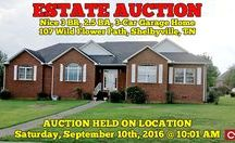 9/10/16 ESTATE AUCTION: Nice 3 BR, 2.5 BA, 3-Car Garage Home / Bidding has ended for this auction. Stay tuned to http://www.comasmontgomery.com/ for more upcoming auctions.  -ESTATE AUCTION featuring Nice 3 BR, 2.5 BA Home with 3-Car Garage, Deck, Sunroom, New Roof.  107 Wild Flower Path Shelbyville, Tennessee - Bedford County  AUCTION HELD ON LOCATION Saturday, September 10th, 2016 @ 10:01 AM.  ‪#‎realestate‬ ‪#‎auction‬ ‪#‎home‬ ‪#‎house‬ ‪#‎forsale‬ ‪#‎shelbyville‬ ‪#‎tennessee‬ ‪#‎estate‬ ‪#‎3bedroom‬ ‪#‎garage‬ ‪#‎sunroom‬ ‪#‎deck‬ ‪#‎newroof‬