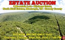 9/8/16 ESTATE AUCTION: 8 Mountain Lots in Monteagle, TN / ONLINE ESTATE AUCTION ends Sept 8th! 8 Mountain Lots in North Bluff Estates, Monteagle, Tennessee - Grundy County.  BID NOW ONLINE ONLY Until Thursday, September 8th, 2016 @ 7:00 PM.   Bidding has ended for this auction. Stay tuned to http://www.comasmontgomery.com/ for more upcoming auctions.  #realestate #land #estate #acres #monteagle #tennessee #nashville #chattanooga #murfreesboro #residential #lot #mountain #home #comas #montgomery