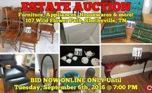 9/6/16 ONLINE ESTATE AUCTION: Furniture, Appliances, Housewares, Glassware & more / Bidding has ended for this auction. Stay tuned to http://www.comasmontgomery.com/ for more upcoming auctions.  ESTATE AUCTION featuring Furniture, Glassware, Flatware, Appliances, Housewares and more.  107 Wild Flower Path, Shelbyville, Tennessee.  BID NOW ONLINE ONLY Until Tuesday, September 6th, 2016 @ 7:00 PM.  ‪#‎furniture‬ ‪#‎appliances‬ ‪#‎glassware‬ ‪#‎housewares‬ ‪#‎flatware‬ ‪#‎art‬ ‪#‎estate‬ ‪#‎sale‬ ‪#‎forsale‬ ‪#‎shelbyville‬ ‪#‎tennessee‬ ‪#‎bedford‬ ‪#‎county‬