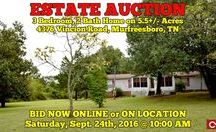 9/24/16 ESTATE AUCTION: 3BR, 2BA Home on 5.5+/- Acres / Bidding has ended for this auction. Stay tuned to http://www.comasmontgomery.com/ for more upcoming auctions.  AUCTION featuring 3 Bedroom, 2 Bath Home on 5.5+/- Acres 4376 Vincion Road, Murfreesboro, Tennessee - Rutherford County.  BID NOW ONLINE or ON LOCATION Saturday, September 24th, 2016 @ 10:00 AM.  #realestate #auction #mobile #home #land #acres #murfreesboro #tennessee #comas #montgomery