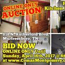 4/16/17 AUCTION: Furniture, Appliances, Housewares, Kitchen Items, Bedroom Suite & more / ONLINE ONLY PERSONAL PROPERTY AUCTION 818 N. Rutherford Blvd. Murfreesboro, Tennessee  BID NOW ONLINE ONLY Until Sunday, April 16th, 2017 @ 8:00 PM. Bidding has ended for this auction. Stay tuned to http://www.comasmontgomery.com/ for more upcoming auctions.   AUCTIONEER: Charlie Montgomery  #auction #estate #furniture #appliances #housewares #kitchen #items #dishes #murfreesboro #tennessee #bedroom #suite #toys #books