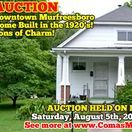 8/5/2017 AUCTION: Downtown Murfreesboro Home Built in the 1920s - Tons of Charm! / AUCTION featuring DOWNTOWN MURFREESBORO HOME BUILT IN THE 1920s!  1009 N. Church Street Murfreesboro, Tennessee in Rutherford County  Bidding has ended for this auction. Stay tuned to http://www.comasmontgomery.com/ for more upcoming auctions.   AUCTION HELD ON LOCATION Saturday, August 5th, 2017 @ 10:00 AM.  PREVIEW on SUNDAY, July 30th from 1-2 PM.  #realestate #home #house #1920s #historic #downtown #murfreesboro #tennessee #churchstreet #auction #forsale
