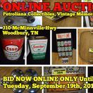 9/19/17 ONLINE AUCTION: Petroliana Collectibles & Vintage Memorabilia / ONLINE ONLY AUCTION featuring Petroliana Collectibles, Vintage Memorabilia, Bar Signs, Vintage Oil Cans, Yamaha ATV and MORE!  310 McMinnville Hwy, Woodbury, Tennessee  BID NOW ONLINE ONLY Until  Tuesday, September 19th, 2017 @ 7:00 PM. Bidding has ended for this auction. Stay tuned to http://www.comasmontgomery.com/ for more upcoming auctions.   #auction #forsale #petroliana #collectibles #vintage #memorabilia #atv #yamaha #fourwheeler #oil #cans #sinclair #esso #gulf #online