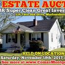 11/18/17 ESTATE AUCTION: 3 BR Super Clean Investment Home / ESTATE AUCTION featuring 3 BR SUPER CLEAN GREAT INVESTMENT HOME!   124 Twin Oak Drive, Murfreesboro, Tennessee in Rutherford County - The Estate of Annie Hand.   AUCTION HELD ON LOCATION Saturday, November 18th, 2017 @ 11:00 AM. Bidding has ended for this auction. Stay tuned to http://www.comasmontgomery.com/ for more upcoming auctions.   #realestate #auction #property #investment #home #house #forsale #murfreesboro #tennessee #estate