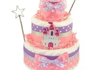 ♥ Diaper Cakes for Girls ♥ / Our collection of unique diaper cakes for girls includes many popular themes including: princess, ladybug, owl and much more. Check out our Limited Edition Diaper Cake line for custom made designs!