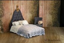 Montheron Dollshouse Miniature Beds / Miniature beds in 1:12 scale for dollshouses