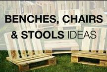 Pallet Benches, Chairs & Stools / Old wooden pallets are perfect for making indoor or outdoor benches, chairs & stools. Be inspired for your next project! More inspiration here: http://www.1001pallets.com/diy-pallet-furniture/pallet-benches-chairs/