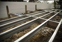 Our Decks (steel foundations) / Steel decks are the way to go, rot proof, rust proof, warp proof, not too mention quick and easy one man installation. Lay what ever kind of top you like, decking, quila, stained or plain it's up too you!