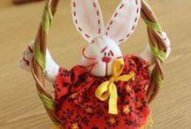 húsvét / Saját készítésű, textil anyagból készült figurkák.