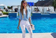 Camisa jeans / #jeans #calçabranca