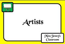 Artists / Artists. A board with a collection of photographs/paintings of artists from the past and present