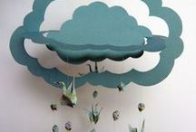 Paper | Mobiles / Mobiles made from paper. Art mobiles for home decor. Card stock paper mobiles.