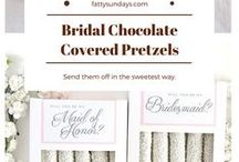 Bachelorette/Bridal/Wedding / Perfect bridal shower gifts, bachelorette party favors, and wedding favors. Send 'em off with our delicious salty + sweet treats! Original Pretzels and inspiration included.