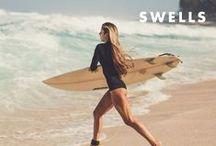 Swells / surfing, surfer, surfer girl