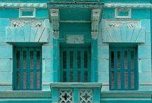 nuances de turquoise / turquoise, bleu-vert