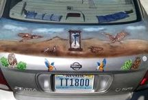 My other art. / This is what I have done so far on the boot of my car.