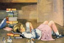 Reading and book images / Images, photos, cartoons depicting readers, adults, children or animals.