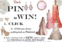 """My Bride Style / Style your dream wedding look on Pinterest for a chance to win a $250 Gift Card to Thomas Laine Jewelry (and 10% your next purchase just for entering)!  Create your """"My Bride Style"""" board, tag your pics #thomaslainebride and #bridaljewelry, and email a link to your entry to bridestylethomaslaine@thomaslaine.com. Get pinning, now through April 30 - complete rules are available at: http://www.thomaslaine.com/pinterest"""