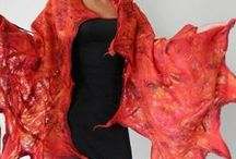 felted scarves shawls handmade eco fashion by Kantorysinska