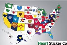 Heart in (State) Sticker / Heartsticker.com is the best producer of customized heart sticker in USA and all other states. We also deal in love heart decal, button stickers and gift items.