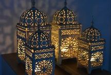 Morrocan style decoration / Rich colors. Gold. Rich gold. Lanterns . Exotic. Warm.