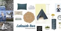 BLOG : Moodboard of the Month  **Lakeside Love** / This moodboard for a kids bedroom is inspired by a summer holiday at Lake Taupo in New Zealand. It's about the deep blue lake, bitter green grass and chalky grey pumice. READ THE FULL BLOG POST at http://blog.placesandgraces.com/