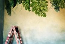 Jungle Fever home / Velature, decorazioni astratte e muri scozzesi , hand made