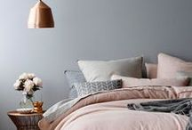 """/ New bedroom decor / Bedroom makeover ideas for my first very OWN room after so many years sharing it with someone else. This board includes bedroom decor ideas plus """"room-office"""" ideas as well! ;)   Colour palette ideas: grey, blush, and copper/gold"""