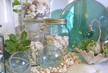 Coastal Decor / coastal vignettes and accessories: boats, shells, lighting, pillows, frames, furniture / by Sue Strong